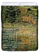 Autumn Pond Scene Duvet Cover
