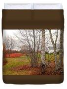 Autumn Red Field Maine  Duvet Cover