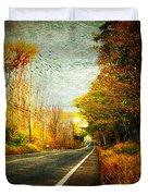 Autumn Road Connecticut Usa Duvet Cover