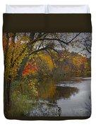 Autumn Scene Of The Flat River Duvet Cover