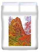 Autumn View Along Zion Canyon Scenic Drive In Zion National Park-utah Duvet Cover