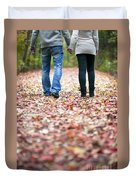 Autumn Walk In The Woods Duvet Cover