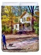 Autumn - Walking The Dog Duvet Cover
