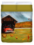 Autumnal Restful View-farm Scene Paintings Duvet Cover