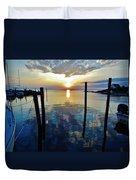 Avon Harbor Sunset Reflections 7/26 Duvet Cover
