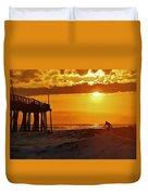 Avon Pier Sunrise Surfer 2 9/08 Duvet Cover