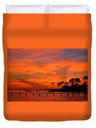 Awesome Fiery Sunset On Sound With Cirrus Clouds And Pines Duvet Cover