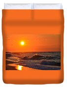 Awesome Red Sunrise Colors On Navarre Beach With Shore Waves Duvet Cover