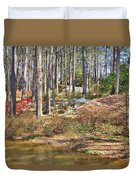 Azaleas By The Pond's Edge Duvet Cover