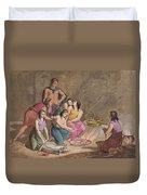 Aztec Women Making Maize Bread, Mexico Duvet Cover