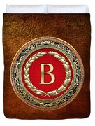 B - Gold Vintage Monogram On Brown Leather Duvet Cover