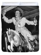 Babe Didrikson On Sidesaddle Duvet Cover