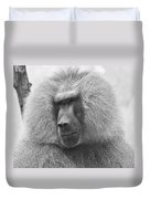 Baboon In Black And White Duvet Cover