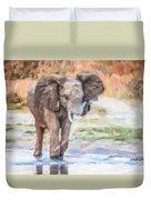 Baby Elephant Spraying Water Duvet Cover
