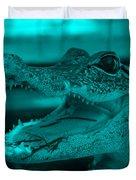 Baby Gator Turquoise Duvet Cover
