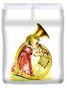 Baby Girl With A French Horn Duvet Cover