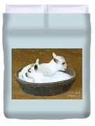 Baby Goats Lying In Food Pan Duvet Cover
