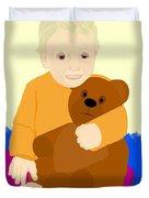 Baby Holding Teddy Bear Duvet Cover