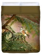 Baby Hummingbird In The Forest Duvet Cover