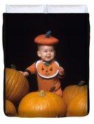 Baby In Pumpkin Costume Duvet Cover