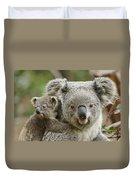 Baby Koala With Mom Duvet Cover