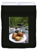 Baby Panda And Croissant Rolls Duvet Cover
