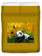 Baby Panda Under The Golden Sky Duvet Cover
