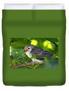 Baby Sparrow In The Maple Tree Duvet Cover