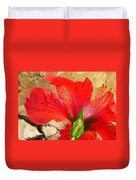Back Of A Red Hibiscus Flower Against Stone Duvet Cover