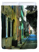 Back Street In Charleston Duvet Cover