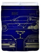 Back To The Future Delorean Blueprint 2 Duvet Cover