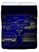 Back To The Future Delorean Blueprint 2 Duvet Cover