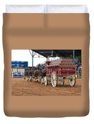 Back View Anheuser Busch Clydesdales Pulling A Beer Wagon Usa Duvet Cover