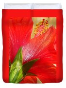 Back View Of A Beautiful Bright Red Hibiscus Flower Duvet Cover