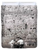 Backgammon At The Ancient Wall Duvet Cover
