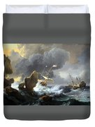 Backhuysen's Ships In Distress Off A Rocky Coast Duvet Cover