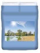 Backlighting River Landscape Duvet Cover
