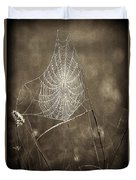 Backlit Spider Web In Sepia Tones Duvet Cover