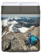 Backpacker Descending Needle Peak Duvet Cover
