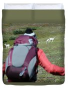 Backpacker Watches Dall Sheep Duvet Cover