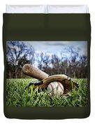 Backyard Baseball Memories Duvet Cover