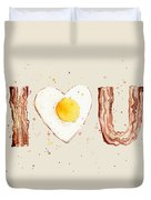 Bacon And Egg I Heart You Watercolor Duvet Cover