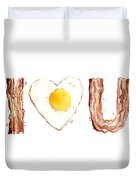 Bacon And Egg Love Duvet Cover by Olga Shvartsur