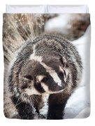 Badger In The Snow Duvet Cover