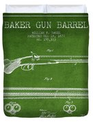 Baker Gun Barrel Patent Drawing From 1877- Green Duvet Cover