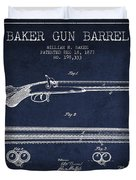 Baker Gun Barrel Patent Drawing From 1877- Navy Blue Duvet Cover