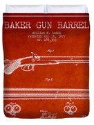 Baker Gun Barrel Patent Drawing From 1877- Red Duvet Cover