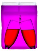 Balance On Red Wine Cups Little People On Food Duvet Cover