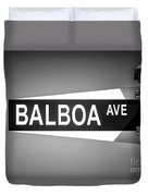 Balboa Avenue Street Sign Black And White Picture Duvet Cover