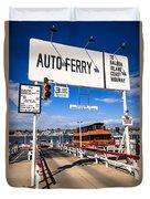 Balboa Island Auto Ferry In Newport Beach California Duvet Cover